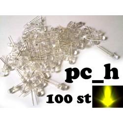 100st gula 5mm lysdioder med rund topp och klar lins, 15 graders vinkel.