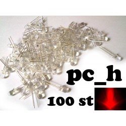 100st röda 5mm lysdioder med rund topp och klar lins, 30 graders vinkel