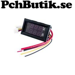 Panelmätare 100V 10A Voltmeter/Amperemeter. Enklare inkoppling