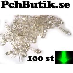 100 st gröna 5mm lysdioder med rund topp och klar lins, 20 graders