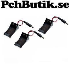 3st 9 Volt batterihållare med DC 2,1x5,5 kontakt. passar Arduino