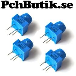 NYTT PÅ LAGER. 4-pack,  3386P-103 10K potentiometer med ratt.