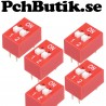 NYTT PÅ LAGER. 5-Pack. DIP Switch 2.54mm red slip type 2p