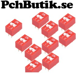 10-Pack, DIP Switch 2.54mm red slip type 2p